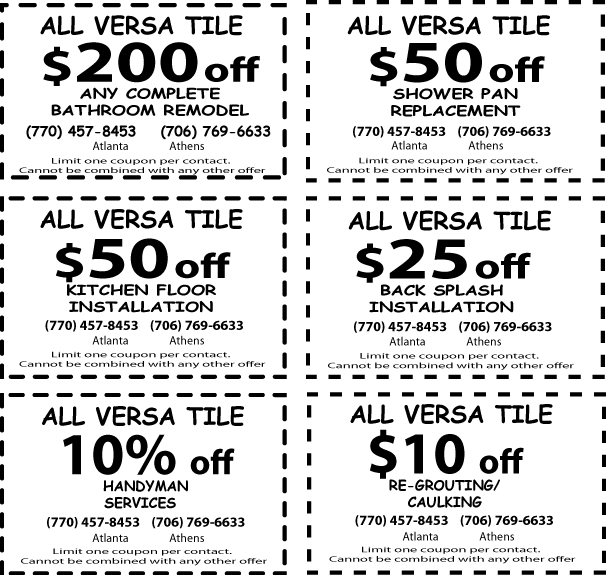Coupons for Complete Bathroom renovation, coupon for Shower Pan, Coupon for Tile